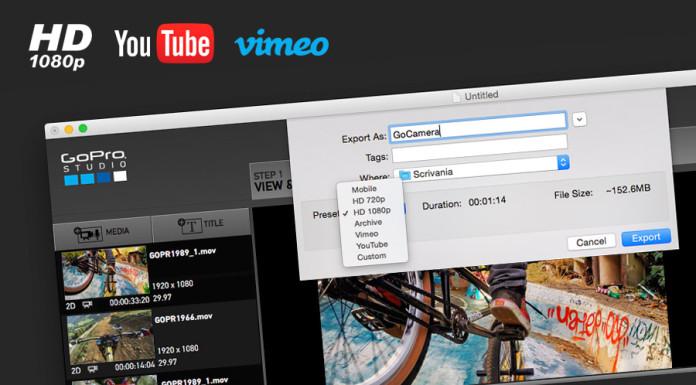 Esportare video con GoPro Studio