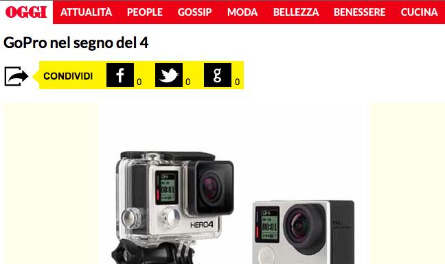 GoCamera e GoPro HERO 4 su OGGI