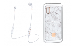 Happy Plugs Wireless II + Cover iPhone X/XS - White Marble