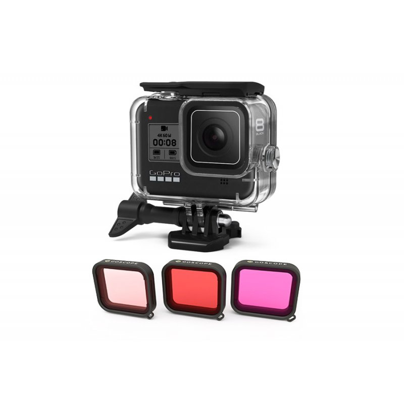 GoScope Case 60m per GoPro HERO8 Black con 3 Filtri