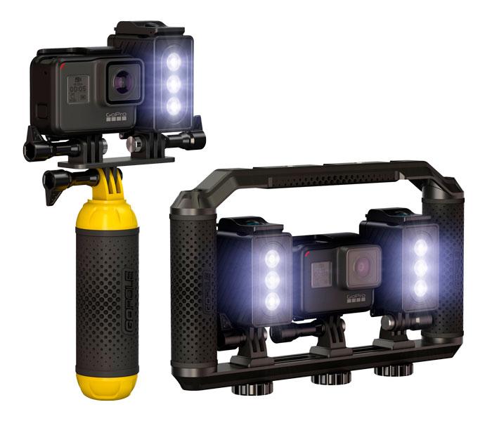 gopole flare sistema illuminazione per gopro